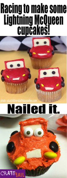 There must have been a race to create the worst Lightning McQueen cupcake. #pinterestfail