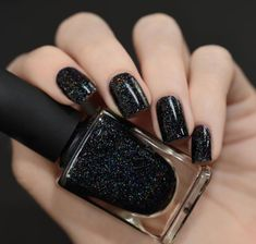 A bottle of sparkly nail polish for giving yourself a manicure that looks like the night sky. 25 Things That Totally Belong On Your Birthday Wish List Black Nail Art, Black Nail Polish, Holographic Nail Polish, Black Nails, Black Glitter, Maroon Nails, Matte Black, Nail Art Designs, Black Nail Designs