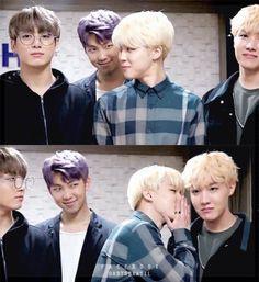 Jimin looks like he has dirt on Jungkook and he's telling Hobi about it, and Namjoon looks like he's the one who told Jimin about Jungkook