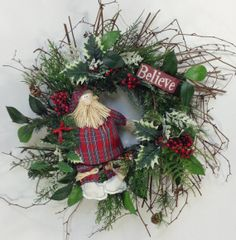 Santa Wreath Christmas Wreath Holiday by CrookedTreeCreation, $55.00