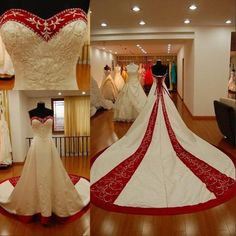 2015 New Red And White Embroidery Plus Size Wedding Dresses Beach Custom Made Vestidos De Novia Sweeetheart Vingate Bridal Gowns