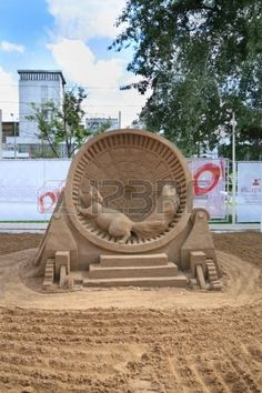 PERM - JUNE 10  Sand sculpture Squirrel in cage at festival White Nights, on June 10, 2012 in Perm, Russia