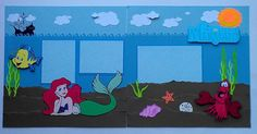 DISNEY LITTLE MERMAID - ARIEL Premade Layout Scrapbook Pages