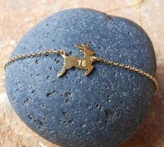 Lucky Charm 2016, Silver 925 deer, 18kt goldplated deer pendant,Lucky deer,Christmas gift