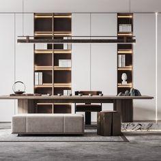 现代卧室- 建E网3D模型下载网 Office Furniture Design, Office Interior Design, Office Interiors, Office Decor, Modern Study Rooms, Zen House, Small Home Offices, Luxury Office, Cabinet Design