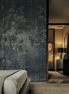 """Midsummer Night"" wallpaper by Wall & Deco. I love this because it combines all the things I'm looking for in a bedroom feature wall: dark and moody, textured, and Asian-esque."