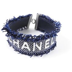 Pre-owned Chanel CC Logo Silver Plated Navy Blue Denim Leather Bangle... (415 BAM) ❤ liked on Polyvore featuring jewelry, bracelets, leather jewelry, navy jewelry, hinged bracelet, chanel jewelry and bangle bracelet