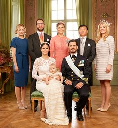 Alexander's godparents: Sofia's sister Lina Frejd, Carl Philip's cousin Victor Magnuson, Carl Philip's sister Crown Princess Victoria and his close friend and best man at his wedding Jan-Åke Hansson and Sofia's childhood friend Wendy Larsson.