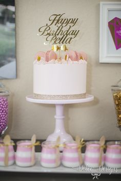 modern pink and gold birthday cake Cakes Pinterest Gold