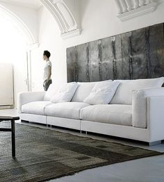 Texture - painting & rug - Dove Gray Home Decor ♅ white and grey living room with a modern touch