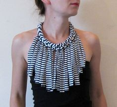 Stripe fabric bib necklace with fringe navy and white by Paczula, $24.00