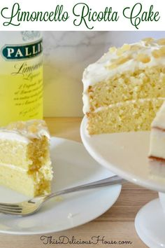 The BEST recipe for Limoncello cake ever! This recipe for Limoncello Ricotta Cake takes lemon cake to a new level with so much flavor. Don't miss this tasty Italian dessert recipe that's sure to be your new favorite for every occasion. Italian Desserts, Lemon Desserts, Lemon Recipes, Just Desserts, Cake Recipes, Dessert Recipes, Italian Cookies, Recipe For Lemon Cake, Italian Foods