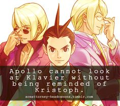 Apollo Justice cannot look at Klavier Gavin without being reminded of his brother, Kristoph Gavin. This is the source of a majority of the negativity Apollo feels towards Klavier. Submitted by: Anonymous Source: Official Artbook for AJ:AA