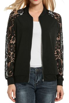 Women Casual Lace Patchwork Zip-Up Short Slim Fit Bomber Jacket - Black - Clothing, Coats, Jackets & Vests, Casual Jackets Source by clothes casual Blazers For Women, Coats For Women, Jackets For Women, Clothes For Women, Black Bomber Jacket, Vest Jacket, Flannel Jacket, Casual Outfits, Fashion Clothes