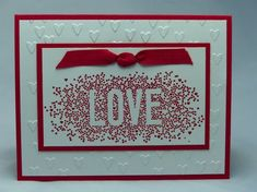 This handmade, hand-stamped Valentine card was made using the Stampin Up companys Seasonally Scattered stamp of the word Love, surrounded by hearts. Use coupon code PIN12 to save 12% now!