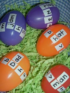 """""""Word Family"""" Eggs, perfect for Kindergarten and 1st Graders. Labels, Sharpie, Plastic Eggs, small treat for inside and just add imagination."""