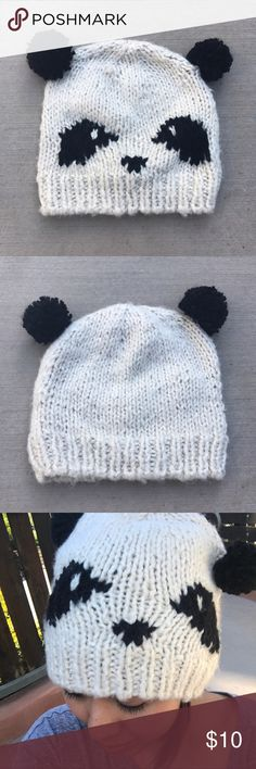 Panda Beanie • 90% acrylic / 10% wool • One snag and light pilling but not noticeable Claire's Accessories Hats