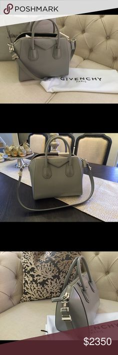 BRAND NEW Givenchy Antigona -- Small Grey Brand new. New Season bag. Gorgeous small grey Givenchy Antigona. Givenchy shiny calfskin satchel bag with shiny palladium hardware. Never carried and tags still attached. Dust bag included. Givenchy Bags Shoulder Bags