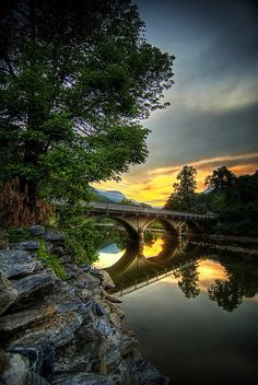 Bridge over Lake Lure, NC.   Photo by Spencer Black. This is just down the road form Asheville. It's where they filmed Dirty Dancing.