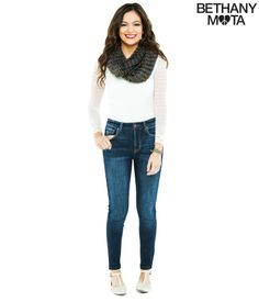 Long Sleeve Lace Bodysuit, High Rise Dark Wash Jeggings, and MultiColored Infinity Scarf from Aeropostale