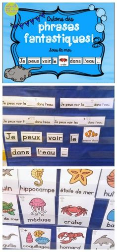 Créons des phrases fantastiques - Sous la mer - FRENCH Ocean-themed Predictable sentences. Help your students develop their 1:1 correspondence, practice high frequency words, and develop their French vocabulary while building these fun ocean-themed sentences. All you need is a pocket chart and you have a great whole group and/or centre activity!