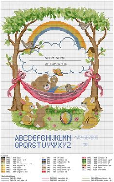 Birth sampler Bear In Hammock Baby Cross Stitch Patterns, Cross Stitch For Kids, Cute Cross Stitch, Cross Stitch Designs, Baby Embroidery, Embroidery Patterns, Plastic Canvas Patterns, Cross Stitching, Blackwork