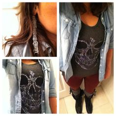 Silver Skull and chambray. leahloustyle.com