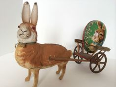 Antique Paper Mache Rabbit Candy Container Pulling w. Wooden Cart-Larger Size!!!