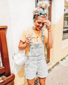 oversized overalls, yellow tee + colorful head wrap