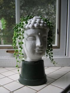 Buddha Head Planter, Succulent Plant Pot, Concrete Cement Home and Garden Decor, Gift #etsyfind #buddha #succulent