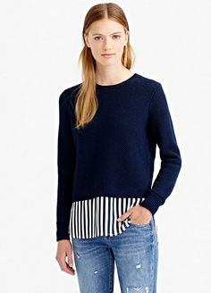 Add a little pattern play to your look with this striped J.Crew sweater. // Lambswool Shirttail Sweater In Stripe by J.Crew