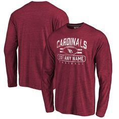 Arizona Cardinals NFL Pro Line by Fanatics Branded Personalized Flanker Tri-Blend Long Sleeve T-Shirt - Garnet