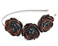 Brown flower headband. Leather floral hair band. Woodland wedding accessory. Hair accessory. Tiara, floral crown. LOVE!