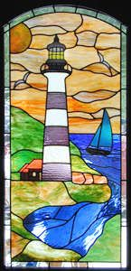 "stained+glass+sidelights | ... "" LEADED STAINED GLASS LIGHTHOUSE WINDOW CUSTOM AT GLASS BY DESIGN"