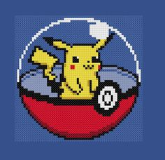 Pikachu Pokeball Cross Stitch Pattern Pokemon Go Anime Video Game Nerdy Beaded Cross Stitch, Cross Stitch Embroidery, Cross Stitch Patterns, Pixel Art, Hama Beads Pokemon, Stitch Games, Pokemon Cross Stitch, Crochet Pokemon, Art Perle