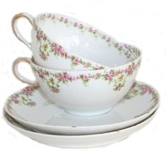 Pair Antique French Wm. Guerin & Cie Limoges Pink Rose Garland Teacups