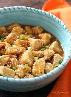Orange Chicken Makeover   Skinnytaste… good be a great sauce with tofu, dredged in cornstarch and fried until crisp.