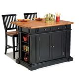 Found it at Wayfair - Kitchen Island in Black and Natural Top With Two Barstools
