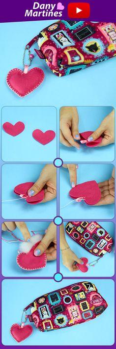 Faça você mesmo um chaveiro de coração com feltro, diy para o estojo, bolsa ou chave, do it yourself