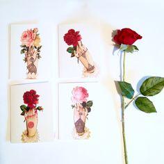 Set of 4 Novelty Vintage Victorian Henna Hands / Folded Greeting Card Set by HartsCraftsBySanna on Etsy