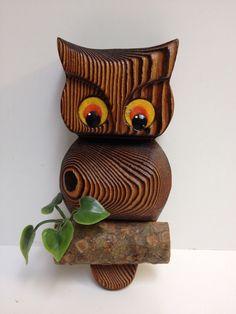 "Vintage ""carved"" wood owl wall hanging"