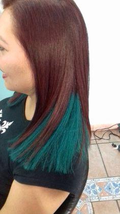 Maquillaje para el cabello tono turquesa. RaquelMontesHair&Color
