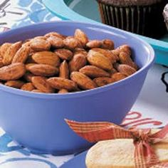 ⊙ Savory Spiced Almonds Recipe  This could be THE ONE~ (subbed coconut oil for buttetlr and  tamari for soy sauce, roasted for 35 mins and sprinkled with organic seasoned salt after taking out of the oven)