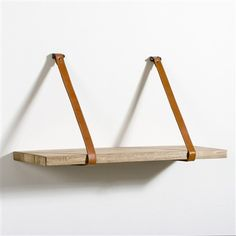Kbane Mango Wood and Leather Shelf Light wood