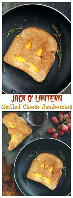 Jack O' Lantern Grilled Cheese Sandwiches for Halloween