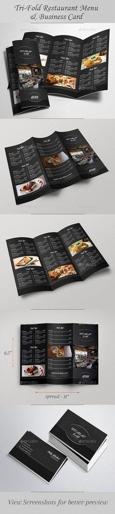 Tri-Fold Restaurant Menu & Business Card Template PSD