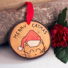 This Cat Christmas Ornament is a fun and super cute way to celebrate the Holiday Season! Each Cat Christmas Ornament was hand sanded and burned with my own design, free hand. This ensures that every ornament is a unique work of art! I finish each ornament Christmas Decorations Sewing, Cat Christmas Ornaments, Handmade Christmas Gifts, Xmas Crafts, Christmas Cats, Rustic Christmas, Funny Christmas, Christmas Ideas, Merry Christmas