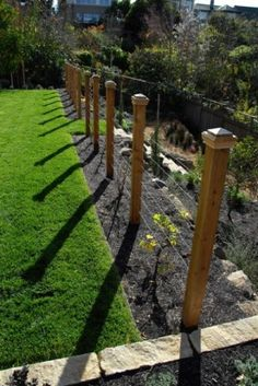 This simple strained wire fence supports recently planted grapevines. It's a basic structure that does its intended job, yet it becomes so much more with the addition of the delightful post caps.