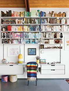 Color-coordinated shelves, always.