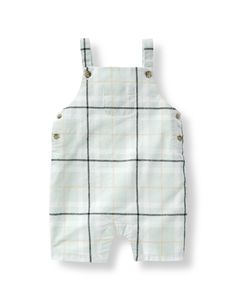 Sweet for days at the park, our airy linen and cotton blend shortall features a fresh windowpane plaid pattern.